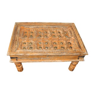 Vintage Orange Old Door Coffee Table Bohemian Country For Sale