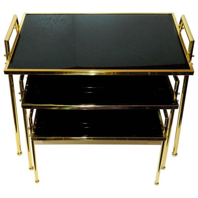 1970s Vintage Brass & Black Glass Nesting Tables - Set of 3 For Sale - Image 5 of 5