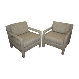 1970's Upholstered Parsons Chairs - A Pair