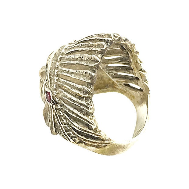 Native American Sterling Silver Indian Chief Head Ring For Sale - Image 3 of 6