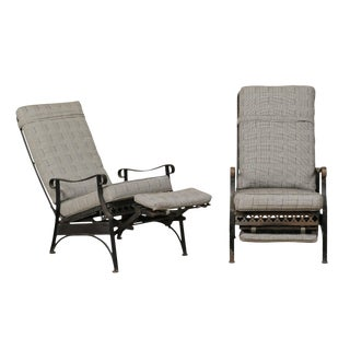 Iron Patio Armchairs With Clover and Dot Motif - a Pair For Sale