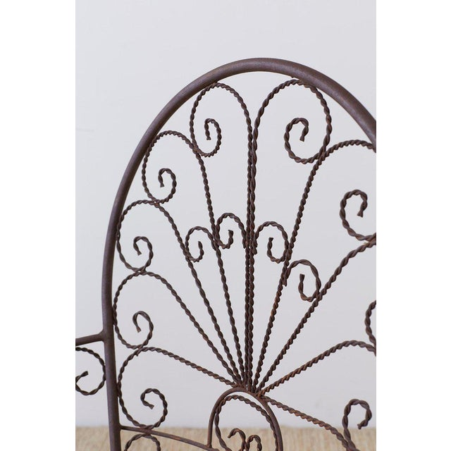 Mid-Century Modern Salterini Style Iron Fan Back Garden Patio Chairs For Sale - Image 3 of 13