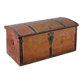 Late 19th Century Norwegian Rosemaled Immigrant Trunk For Sale