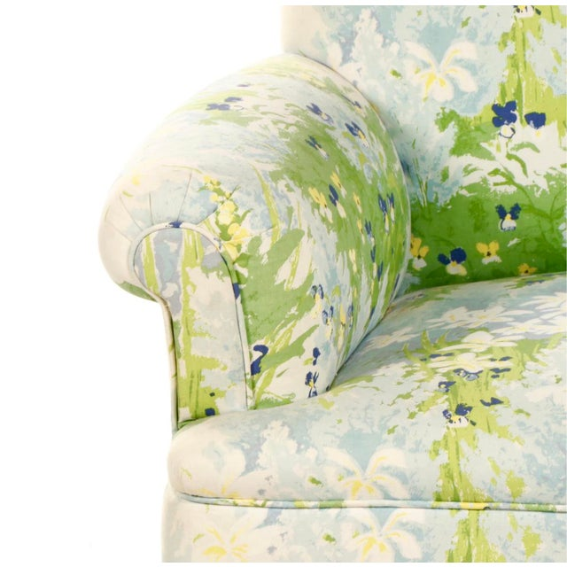 French 1940s Floral Upholstered Settee For Sale - Image 9 of 12