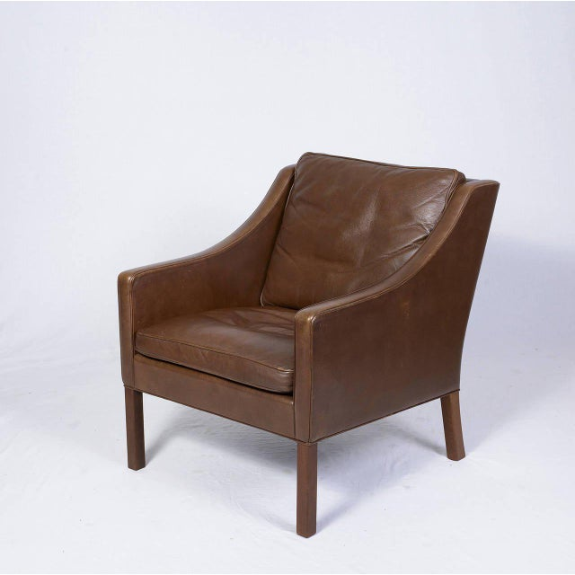 Pair of Borge Mogensen Model #2207 Leather Lounge Chairs - Image 2 of 9