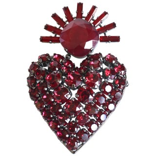 Philippe Ferrandis Royal Heart Swarovski Crystal Brooch For Sale