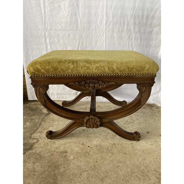 1960s Vintage Regency Carved Wood X Bench For Sale - Image 10 of 10
