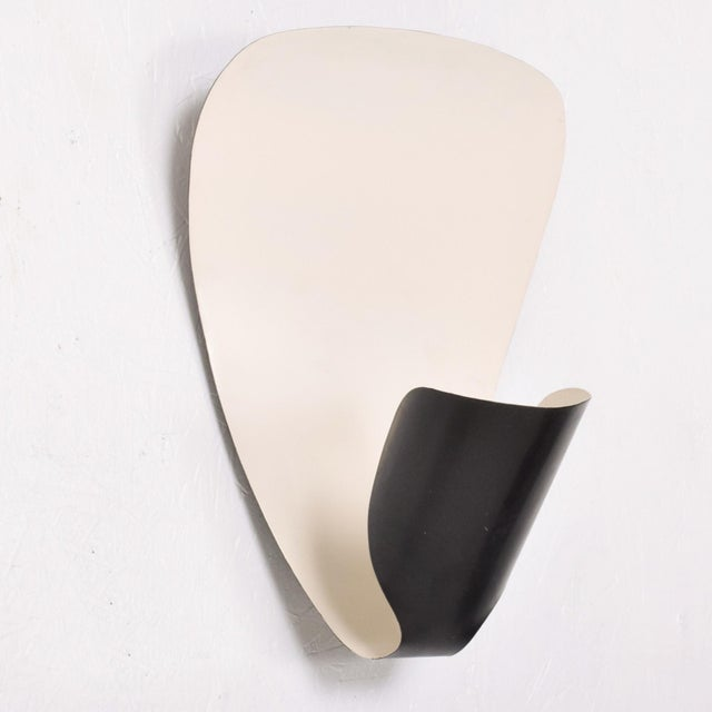 Contemporary French Wall Sconces B206 by Michel Buffet Black and White Wall Lamp Set For Sale - Image 3 of 9