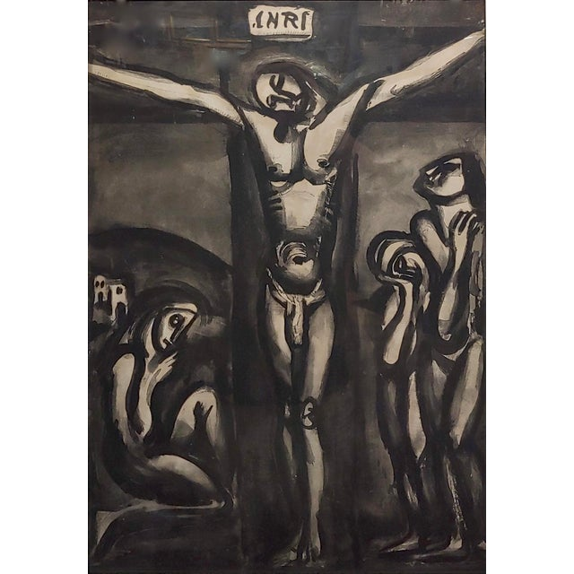 "Figurative Georges Rouault ""Love One Another"" 1948 Aquatint and Drypoint Etching For Sale - Image 3 of 7"