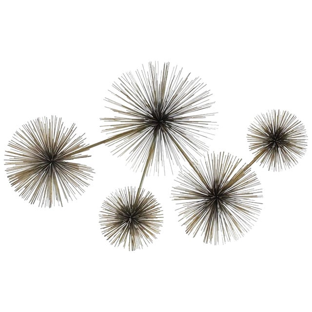 Modern Curtis Jere Brass Wall Sculpture Pom Pom For Sale