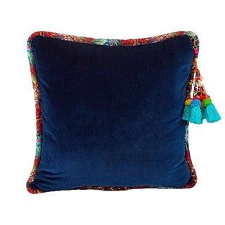 Navy / Bisnagar Stripe Velvet Throw Pillow For Sale