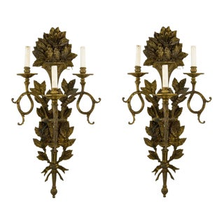 19th C. French Bronze Wall Sconces - a Pair