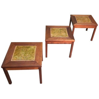 Mid-Century Modern John Keal for Brown Saltman Walnut With Copper Tile Top Tables - Set of 3 For Sale