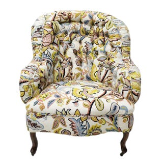 Tufted Crewelwork Victorian Club Chair