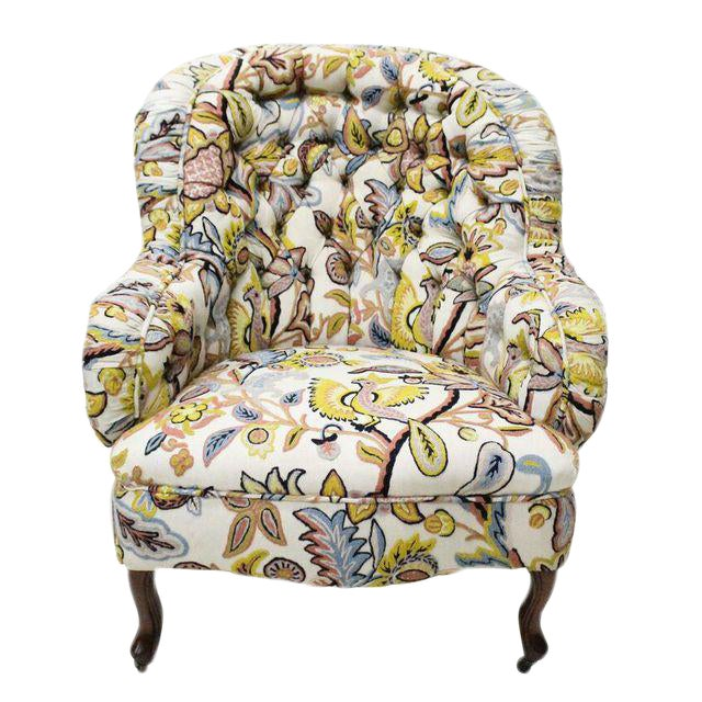 Tufted Crewelwork Victorian Club Chair For Sale