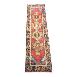 Bohemian Red Traditional Turkish Hallway Runner Rug For Sale