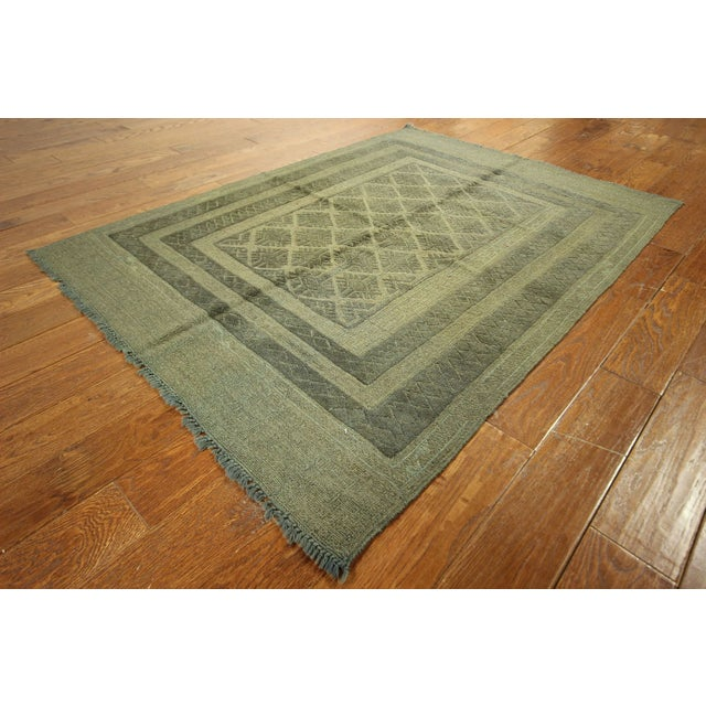 "Overdyed Geometric Green Wool Rug - 4'6"" x 6' - Image 3 of 8"