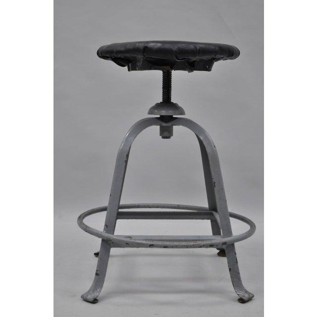 Gray Antique American Industrial Grey Steel Metal Adjustable Work Stool For Sale - Image 8 of 10