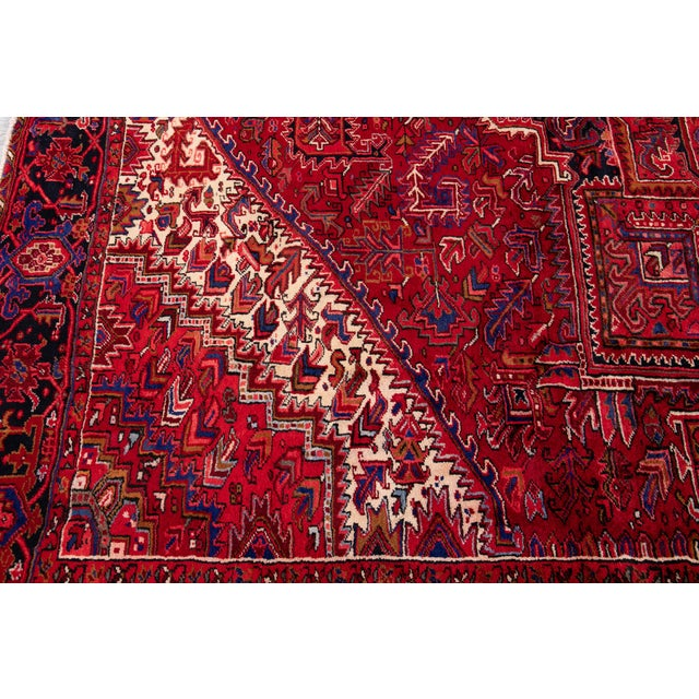 "Vintage Persian Heriz Rug, 10'2"" X 12'10"" For Sale - Image 10 of 12"
