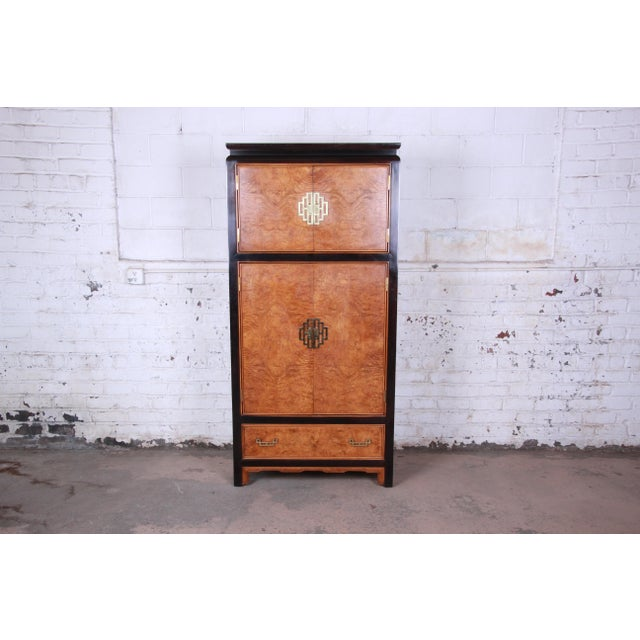 Century Furniture Black Lacquer and Burl Wood Chinoiserie Armoire Dresser For Sale - Image 13 of 13