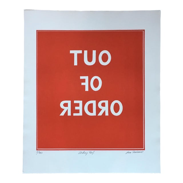 1970s Pop Art Text Print Signed by Jean Sariano For Sale