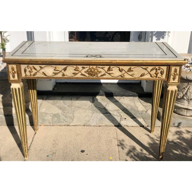 Wood Antique Old Hollywood Cannell & Chaffin Louis XVI Inlaid Italian Marble Console Table For Sale - Image 7 of 7