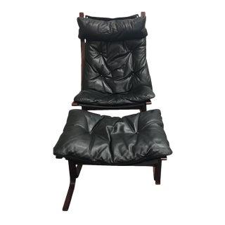 Westnofa Furniture Mid-Century Leather & Teak Chair & Ottoman