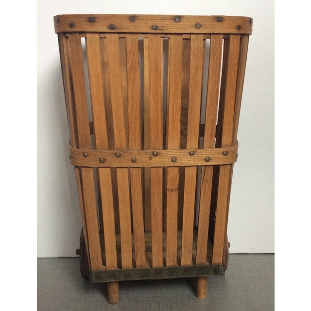 Antique 1920s Wood Baskets on Wheels - Image 6 of 9