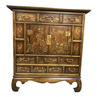 Vintage Drexel Heritage Chinoiserie Cabinet For Sale