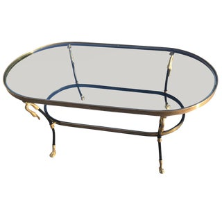 Manner of Jansen Tiered Brass Swan's Head Coffee Table For Sale