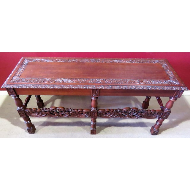 Carved Walnut Console Table For Sale - Image 4 of 6