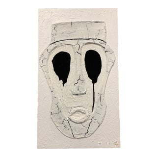 """2020 """"Tear of the Fez"""" Contemporary Minimalist Face Plaster Painting For Sale"""
