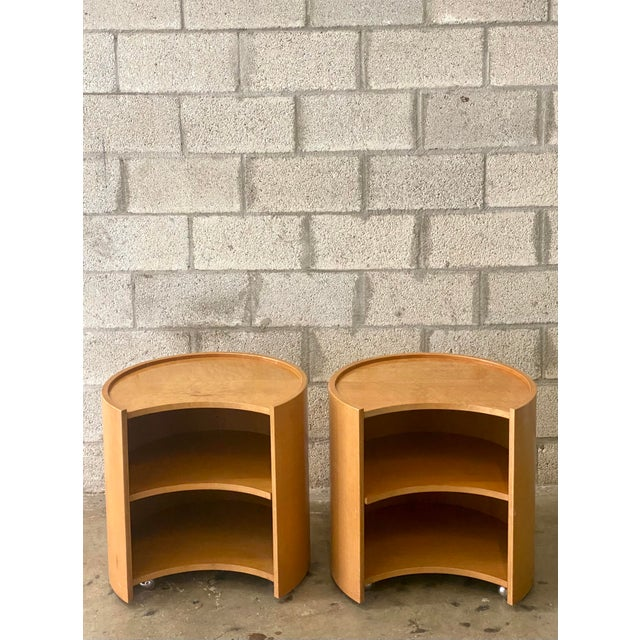 Baker Furniture Company Vintage Mid-Century Modern Michael Taylor for Baker Curved Nightstands - a Pair For Sale - Image 4 of 9