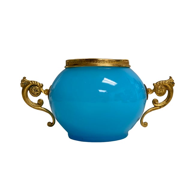 Antique French Vase Blue Opaline With Gilt Handles For Sale In Dallas - Image 6 of 6