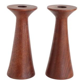 Mid-Century Turned Walnut Wood Candlesticks - A Pair