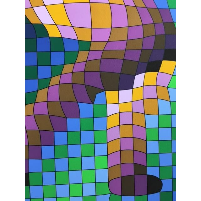 """Victor Vasarely """"Harlequin Sportif"""" Signed Silkscreen Seriograph For Sale - Image 5 of 7"""