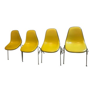 Vintage Mid Century Herman Miller Charles Eames Yellow Chairs- Set of 4 For Sale