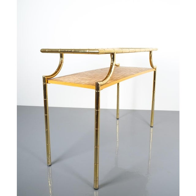 1950s Bamboo Brass Console Table and Mirror, Italy 1950 For Sale - Image 5 of 13