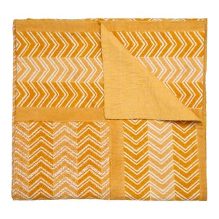 Chevron Hand Stitched Quilt, King - Ocher For Sale