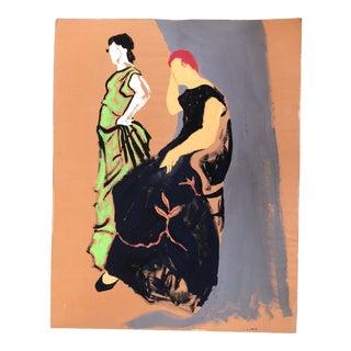 Vintage Original Modernist Figural Pop Art Painting For Sale