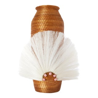 Fanned Out Sisal Vase Large Tall Caramel/Cream For Sale