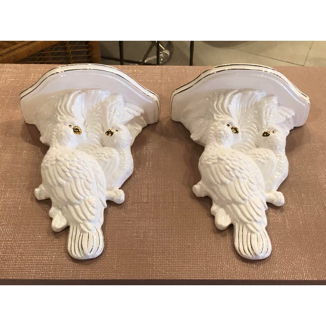 Vintage Palm Beach Tropical White Ceramic Cockatoo Parrots Wall Sconces - a Pair For Sale - Image 9 of 13