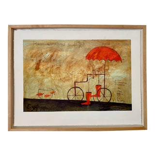 Red Umbrella #7 Framed Giclée on Archival Canvas For Sale