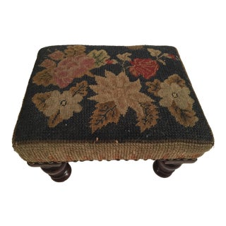 Antique English Needlepoint Footstool