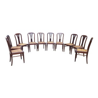 Mid 18th Century Louis XVI French Solid Mahogany Dining Chairs- Set of 10 For Sale