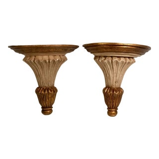 Vintage Italian Style Corbel Wall Shelves - a Pair For Sale
