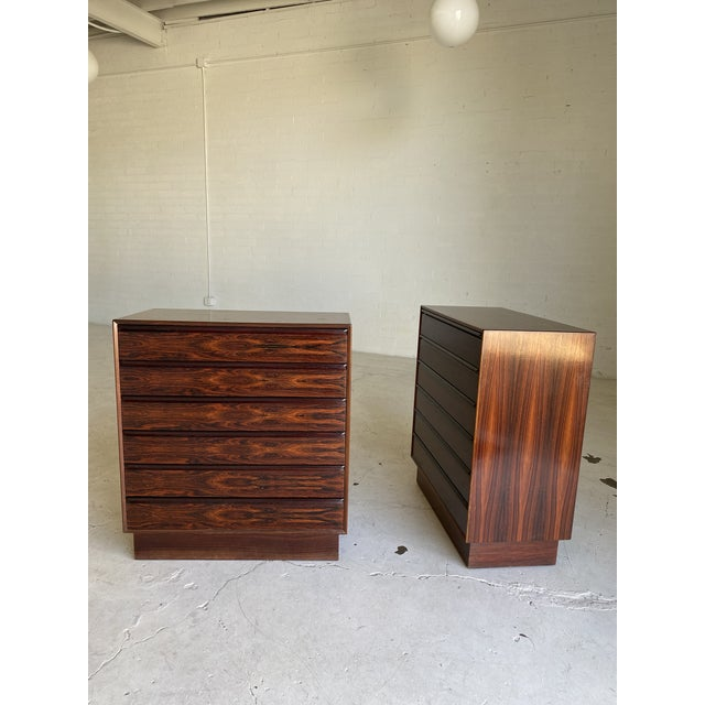 Mid-Century Modern 1960s Westnofa Brazilian Rosewood Highboy Dressers-a Pair For Sale - Image 3 of 11