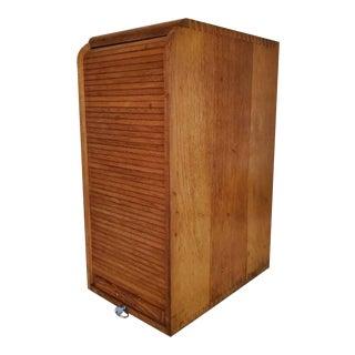 Vintage Industrial Tambour Fronted Oak Cabinet For Sale