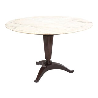 Italian Modern Mahogany and Onyx Top Center/Dining Table, Paolo Buffa For Sale