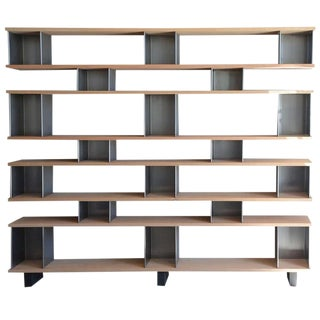"""Contemporary """"Horizontale"""" Polished Steel and Oak Shelving Unit For Sale"""